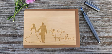 individual wooden wedding card
